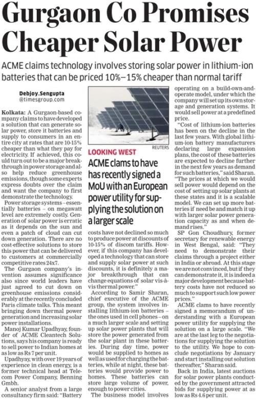 ET p21, Gurgaon Co Promises Cheaper Solar Power